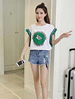 Women's Casual/Daily Cute Blouse,Solid Print Round Neck Short Sleeves Cotton