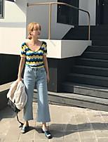 T-shirt Da donna Per uscire Sensuale A strisce A V Cotone Manica corta