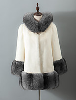 Women's Going out Casual/Daily Simple Fall Winter Fur Coat,Color Block Hooded Long Sleeve Long Faux Fur Acrylic
