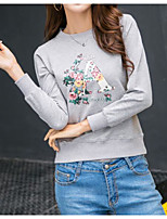 Women's Holiday Cute T-shirt,Print Round Neck Long Sleeves Others