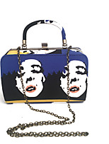 Women Bags Spring Summer Metal Tote Dyed Metal Chain Chain Stripe for Wedding Event/Party Formal Navy Blue