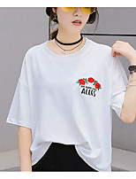 Women's Casual/Daily Simple T-shirt,Solid Floral Round Neck Half Sleeves Cotton