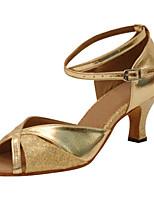 Women's Latin Faux Leather Sandals Performance Paillettes Stiletto Heel Silver Gold 3