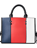 Women Bags All Seasons PU Tote Zipper for Casual Outdoor Office & Career White Red
