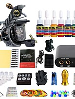 Professional Tattoo Kit 1 Machine  7 Inks Power Supply Complete Tattoo Kits TK105-45