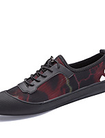 Men's Sneakers Comfort Fall Winter PU Casual Office & Career Lace-up Flat Heel Red Black Flat