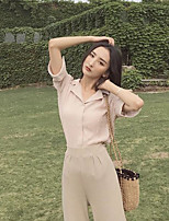Women's Going out Sexy Shirt,Solid Shirt Collar Short Sleeves Cotton