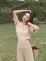 Damen Solide Sexy Ausgehen Hemd,Hemdkragen Kurzarm Baumwolle