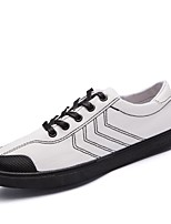 Men's Sneakers Comfort Canvas Spring Fall Casual Lace-up Flat Heel Black White Flat