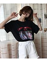 Damen Druck Aktiv Ausgehen T-shirt,Rundhalsausschnitt Kurzarm Baumwolle