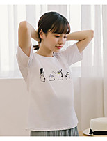 Women's Casual/Daily Simple T-shirt,Solid Round Neck Short Sleeves Cotton