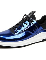 Men's Sneakers Comfort Spring Fall PU Casual Lace-up Flat Heel Royal Blue Silver Black Flat