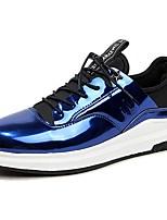 Для мужчин Кеды Удобная обувь Весна Осень Полиуретан Повседневные Шнуровка На плоской подошве Черный Серебряный Тёмно-синий На плоской