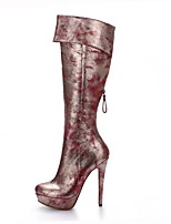 Women's Boots Fashion Boots PU Fall Winter Office & Career Party & Evening Dress Black/Red Wine Black Gold 5in & over