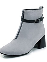 Women's Boots Fashion Boots Fall Winter Leatherette Casual Dress Buckle Chunky Heel Gray Black 2in-2 3/4in