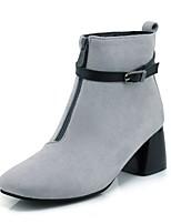 Da donna Stivaletti Stivali Autunno Inverno Finta pelle Casual Formale Fibbia Quadrato Nero Grigio 5 - 7 cm