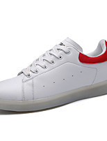 Men's Sneakers Comfort Spring Fall PU Walking Shoe Casual Outdoor Lace-up Flat Heel Red/White Black/White Flat