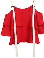 Women's Casual/Daily Simple Blouse,Solid Strap 3/4 Length Sleeves Polyester