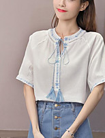 Women's Casual/Daily Simple Blouse,Solid V Neck Short Sleeves Cotton Others