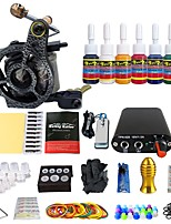 Complete Tattoo Kit 1 Machines Set 7 Color Inks Power Supply Footdal Pedal Set TK105-48