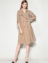 Mary Yan & Yu Women's Casual/Daily Work Simple Fall Trench Coat,Solid V Neck Long Sleeve Regular Polyester