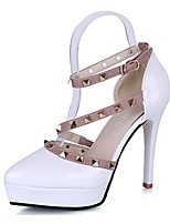Women's Heels Light Soles Spring Fall PU Casual Dress Rivet Buckle Stiletto Heel Blushing Pink Ruby Light Grey Black 2in-2 3/4in