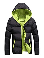 Men's Regular Padded Coat,Simple Active Punk & Gothic Plus Size Going out Casual/Daily Solid Color Block-Polyester Polyester Long Sleeves