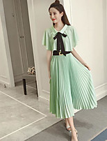 Women's Going out Simple Summer Blouse Skirt Suits,Solid Shirt Collar Short Sleeve