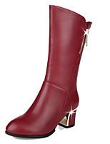 Для женщин Ботинки Удобная обувь Полиуретан Осень Зима Повседневные Молнии На низком каблуке Черный Красный 2,5 - 4,5 см