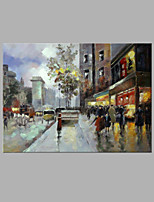IARTS® Hand Painted Modern Abstract Little Town Street View Oil Painting On Canvas with Stretched Frame Wall Art For Home Decoration Ready To Hang