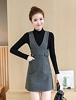 Women's Casual/Daily Simple Fall Winter T-shirt Skirt Suits,Solid Round Neck Long Sleeve