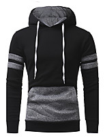 Men's Sports Casual/Daily Simple Hoodie Color Block Hooded Micro-elastic Cotton Polyester Long Sleeve Fall Winter