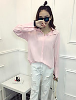 Women's Casual/Daily Sexy Shirt,Solid Shirt Collar Long Sleeves Cotton