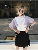 T-shirt Da donna Per uscire Romantico Monocolore Rotonda Cotone Manica corta