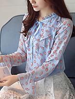 Для женщин На каждый день Офис Весна Осень Рубашка Воротник-стойка,Очаровательный Цветочный принт Длинный рукав,Полиэстер,Тонкая