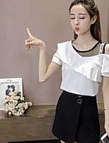Tee-shirt Femme,Couleur Pleine Décontracté / Quotidien simple Eté Manches Courtes Epaules Dénudées Coton Moyen
