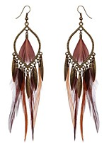 Women's Drop Earrings Vintage Personalized Oversized Costume Jewelry Alloy Feather Jewelry For Holiday Going out Beach