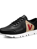 Men's Sneakers Comfort Light Soles Fall Winter Real Leather PU Leather Casual Outdoor Lace-up Flat Heel Black White Flat