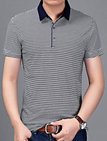Men's Sports Plus Size Going out Casual/Daily Work Simple Active Summer Fall PoloStriped Shirt Collar Short Sleeves Cotton Acrylic Medium k555