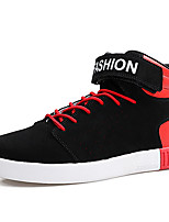 Men's Sneaker Light Sole Spring Fall Leatherette Casual Office & Career Lace-up Flat Heel Black/Red Black/White Black White Flat