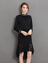 Women's Casual/Daily Sophisticated Blouse,Solid Stand Long Sleeves Polyester