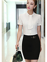 Women's Going out Casual/Daily Simple Summer Blouse Skirt Suits,Solid Round Neck Short Sleeve