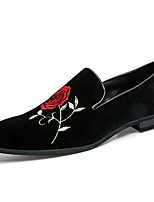 Men's Shoes Suede Fall Winter Driving Shoes Formal Shoes Comfort Loafers & Slip-Ons Flower For Wedding Party & Evening Red Black Gold