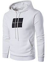 Men's Plus Size Sports Plus Size Holiday Going out Casual/Daily Simple Hoodie Letter Hooded Micro-elastic Cotton Long Sleeve Spring Fall
