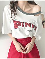 Damen Buchstabe Einfach Lässig/Alltäglich T-shirt,Bateau Kurzarm Baumwolle