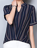 Women's Casual/Daily Simple Shirt,Striped V Neck Short Sleeves Linen Others