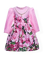 Girl's Floral Dress,Cotton Polyester Summer Fall Long Sleeve
