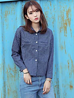 Women's Casual/Daily Simple Shirt,Striped Plaid Shirt Collar Long Sleeves Cotton