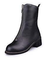 Women's Boots Comfort PU Fall Winter Casual Zipper Flat Heel Black Flat