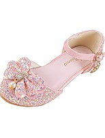 Girls' Flats Comfort Novelty Flower Girl Shoes Fall Winter Synthetic Microfiber PU Casual Dress Sequin Buckle Flat Heel Blushing Pink